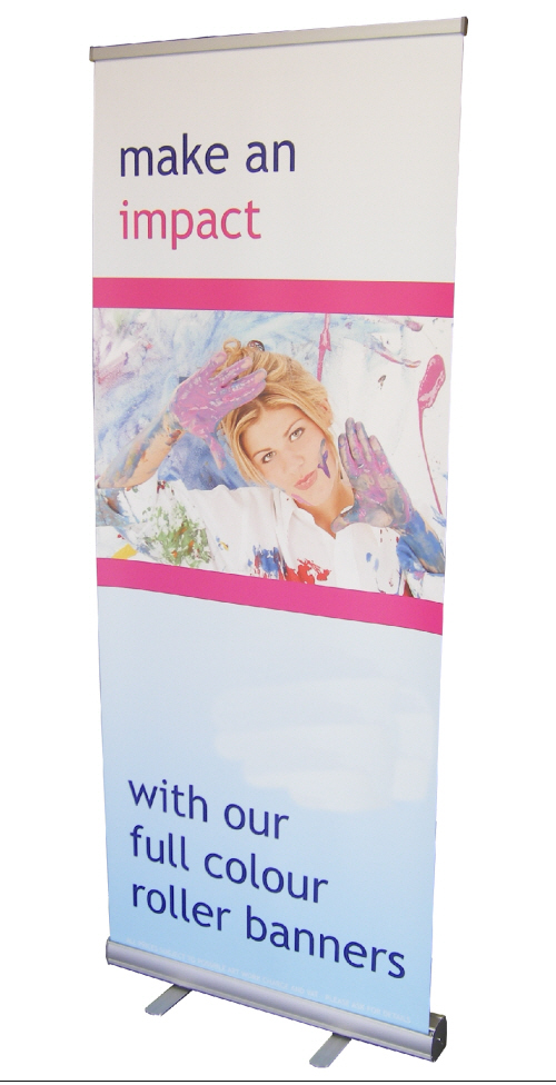 Roller Banner Stand with Make An Impact graphic