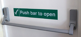 Safety Sign Push bar to open